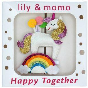 rainbow unicorn birthday hair clip